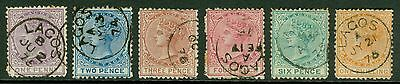 SG 10-16 Lagos ½d-1/- set of 6. Fine used. Condition mixed