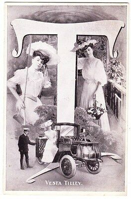 Early Postcard, Old Car, With Vesta Tilley