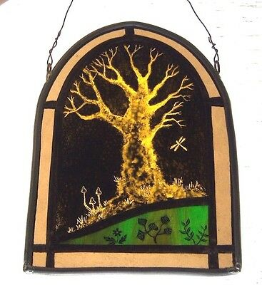 Ancient Tree Stained Glass Leaded Painted Panel Hanger Suncatcher