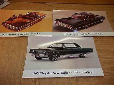 """1965 Chrysler post card lot of 3, large 5 X 8"""""""