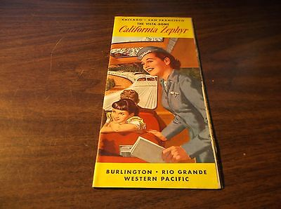 July 1954 Western Pacific Cb&q/d&rgw/wp California Zephyr Route Guide