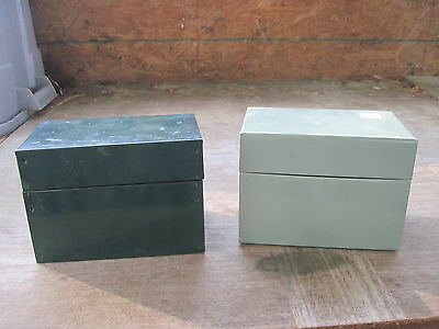 """2 Metal Recipe Boxes for 3.5""""x5"""" Cards..1 Filled with Recipes,Clipped & Handwrtn"""