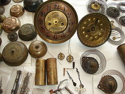Lot Antique Clock Parts Gustov Becker S Thomas GB Owen Movement Gongs Weights