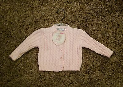 Infant Girls Size Newborn Or 3 Months 100 % Cotton Cardigan Sweater NWT !