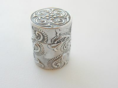 Sterling Silver Foliate Embossed Thimble Needle Hallmarked