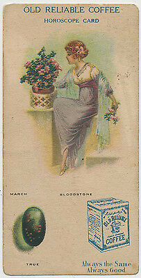 Old Reliable Coffee Horoscope Card - March - Victorian Trade Card