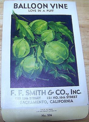 Vintage 1920s Seed packet 4 framing Balloon Vine  F F Smith co Sacramento CA