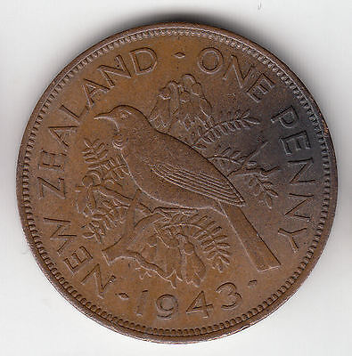 New Zealand 1D 1943 Kiwi Copper Ef+     23D        By Coinmountain