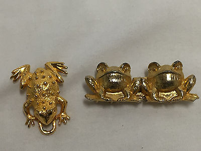 Vintage Gold Tone Frog Belt Buckles, One Dotty Smith