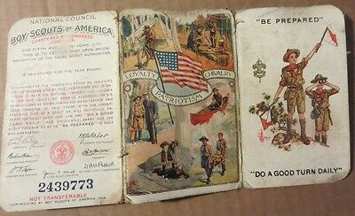 vintage 1924 Boy Scout 3 section Membership card Coolidge Wilson