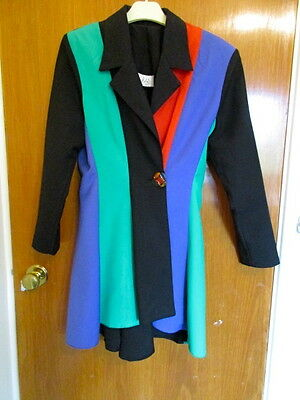 NEW 1980's LADIES 10/38 PANELLED JACKET - FISHTAIL BACK PANELS AND LONG SLEEVES