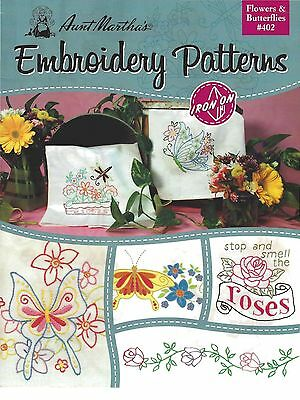 New Aunt Martha's 402 Iron on Hand Embroidery Patterns Flowers & Butterflies