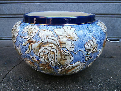 ancien grand cache pot art deco en ceramique 1920/1930 jardiniere vase barbotine