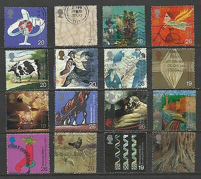 GB 1999 - 2000 Collection of 16 used stamps ( E657 )