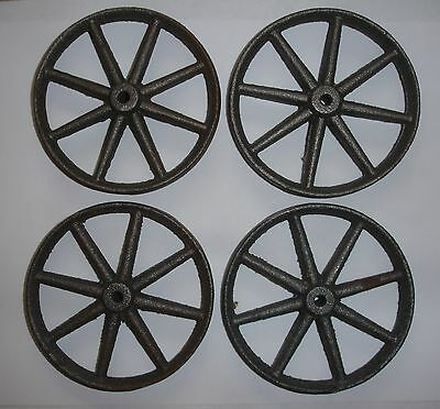 "4 Cast Iron Spoke Wheels 3 3/4"" In Diameter"