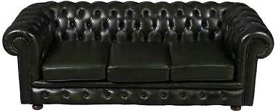 Vintage Antique Style Green Leather Chesterfield Sofa Couch Three Seat Tufted