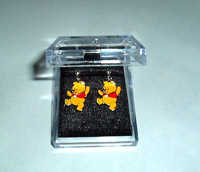 WINNIE THE POOH EARRINGS NIB Silver Plated Post Child/Adult Crystals on Bears