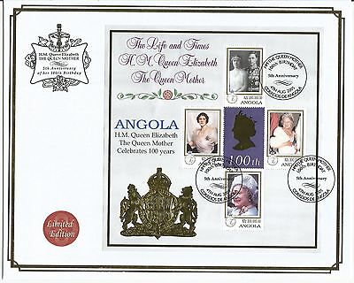 One Penny Arcade  A Nice Angola 2005 LE Queen Mother 100th Anniv MS Cover