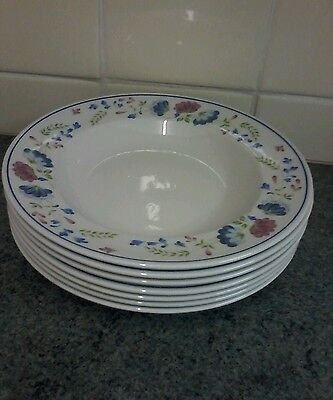Bhs Priory 9Ins Rimmed Soup/pasta Bowls X 7