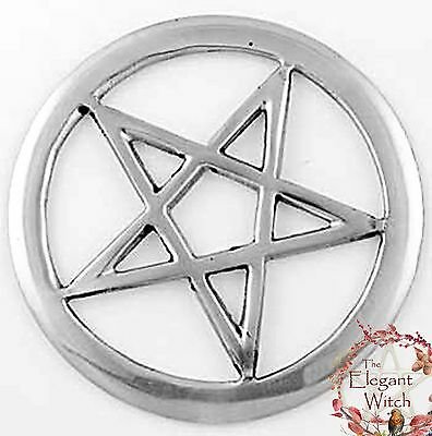 "Openwork Pentacle Altar Tile Ornament Talisman 3"" Silver Plated Wiccan Witch"