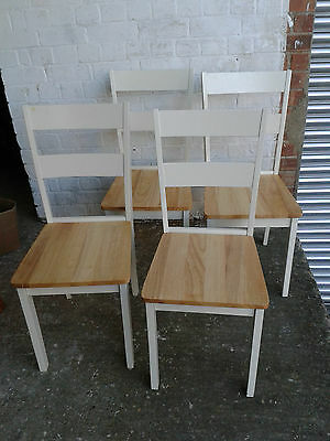 Set of 4 Wooden Ladderback Dining Chairs - Shabby Chic / Refurb