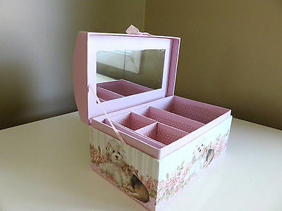 Girl`s Jewelry Box Organizer Dogs Cats 8 x 5 in. Gift New Mirror inside