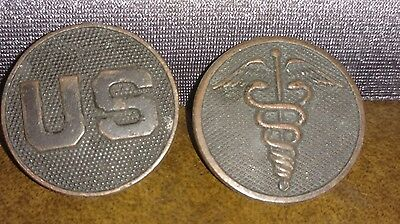 US Army Bronze Collar Disc Pair Set Enlisted Medical Corps Screwback
