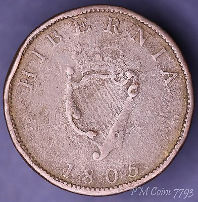 1805 George III, Irish Half Penny Ireland nice coin [7793]