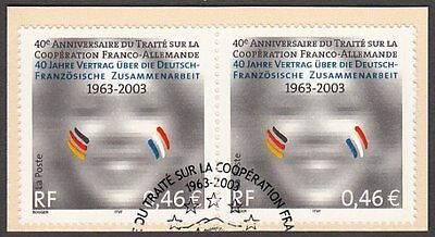 France, 2003 Franco-German Co-operation Horizontal Pair, Fine Used on Piece