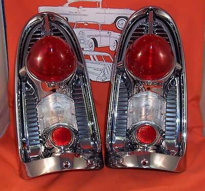 1956 Chevy Taillight Housings Chrome Belair Sedan Hardtop Wagon Made in USA New