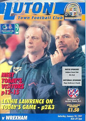 LUTON TOWN v WREXHAM Division Two programme 18 January 1997