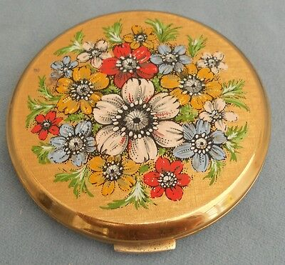 Vintage Stratton Powder Compact With Flower Posy