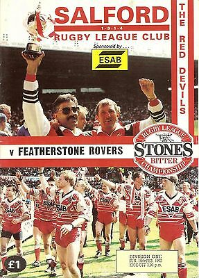 Salford v Featherstone - Division 1 - 1991/92