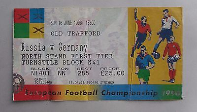 Vintage Euro 1996 Football Match Ticket. RUSSIA v GERMANY. Old Trafford