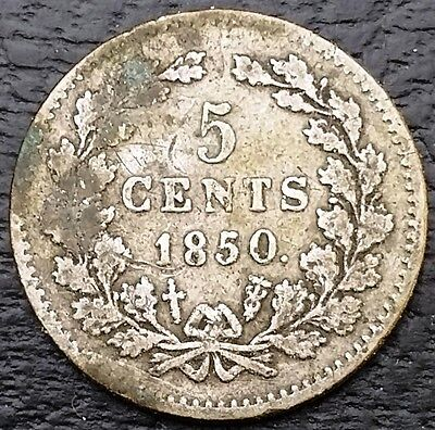 1850 Netherlands 5 Cents 64% Silver Coin KM# 91 - Good Date