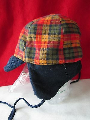TODDLER KIDS HAT Plaid CAP Ear Flaps WINTER Warm Pile Size 21 Military Style