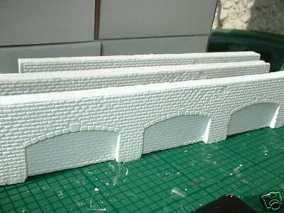 N scale, N gauge BRICK ARCH WALL  X 6  SECTIONS-unpainted for you to colour