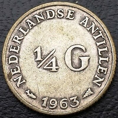 1963 Netherlands Antilles 1/4 Gulden 0.640 Silver Coin KM# 4 - Great Condition