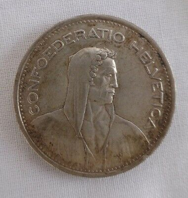 Swiss Silver Coin 5 Francs 1953