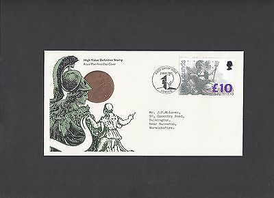 1993 £10 Britannia Royal Mail First Day Cover London pictorial FDI handstamp