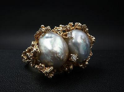 Vintage 14k Yellow Gold Baroque Gray Pearl Diamond Ring Size 5.25 15g RG824
