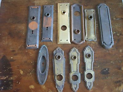 10 Vintage Brass Decorative Gothic Mid Century  Lockset Cover  Plates