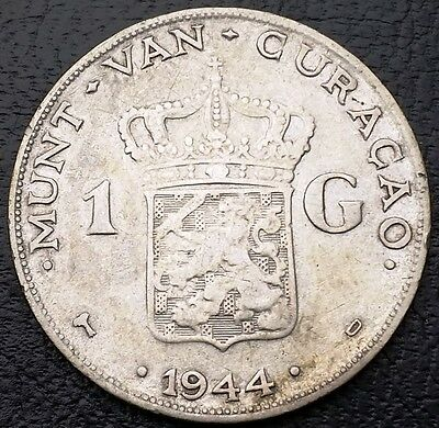 1944D Netherlands Curacao 1 Gulden 0.720 Silver Coin KM# 45 - Great Condition
