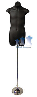 """Male 3/4, Black and Tall Adjustable Mannequin Stand with 8"""" Trumpet Base"""