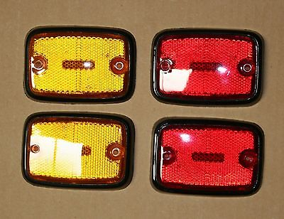 VW bay Bus side marker reflector 1973 - 1979 yellow and red w/ black trim set 4