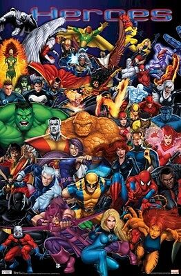 MARVEL UNIVERSE ~ HEROES COLLAGE 22x34 Wolverine Spiderman NEW/ROLLED!