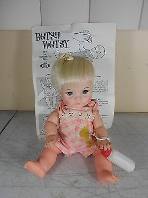"Vintage Ideal Betsy Wetsy Vinyl 9"" Sleepy Eyes Doll with Bottle in Pink Outfit"
