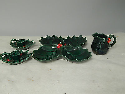 Vintage Lefton's  Christmas Holly Berry 4 Piece Collection