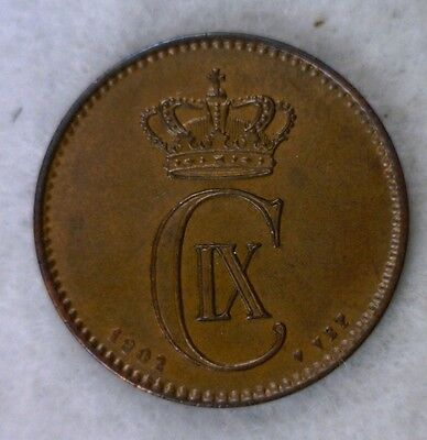 DENMARK 2 ORE 1902 TONED UNCIRCULATED DANISH COIN (Stock# 0195)