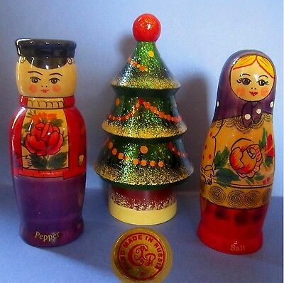 Pair of Russian Doll Figural Salt and Pepper Shakers with a Xmas Tree?